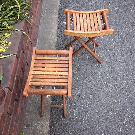 ヴィンテージ、折りたたみ椅子、スツール、上海家具、古道具