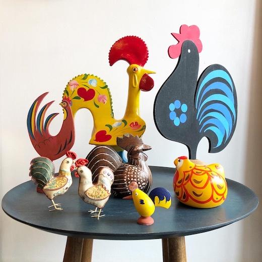 鶏、ニワトリ、ガロ、鳥デザイン、世界の民芸、鳥オブジェ、土産物、フィギュリン