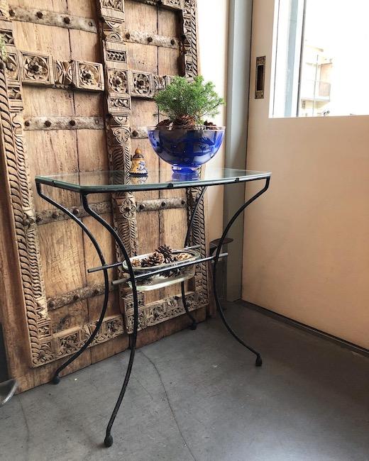 ガラステーブル、ヴィンテージ家具、モダン、ガーデンテーブル、シャビー