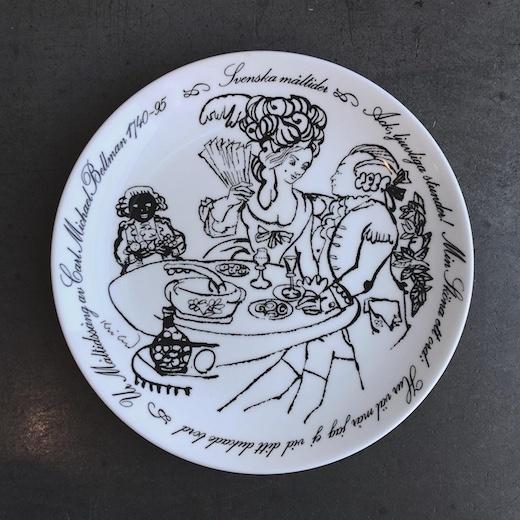 北欧ヴィンテージ、グスタフスベリ、絵皿、イヤープレート、svenskamaltider、食事、1974年