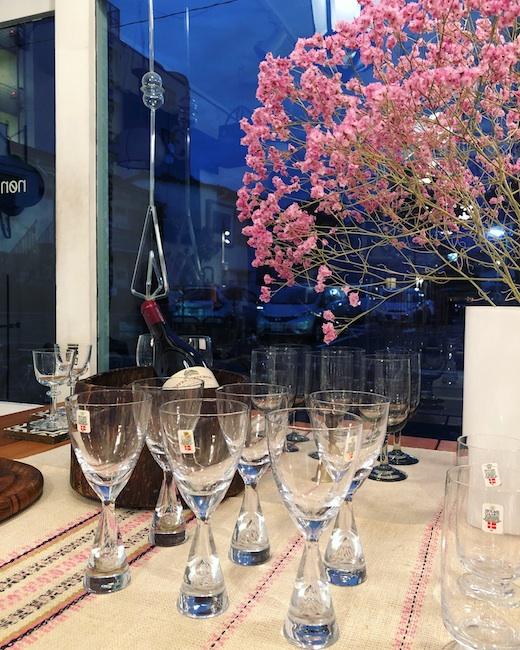 北欧ヴィンテージ食器、北欧ガラス、ホルムガード、ワイングラス、プリンセス、モダンデザイン、十五夜