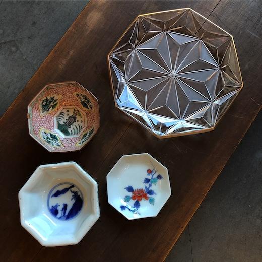 八角皿、八角鉢、八角形、縁起物、河上恭一郎、ガラス工芸、有田焼