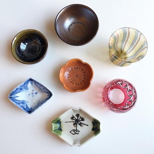 ヴィンテージ、和食器、ガラス器、切子、備前、盃、豆皿、花見