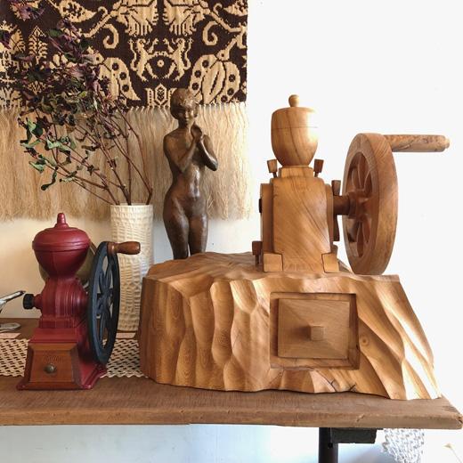 モダン、ヴィンテージ、コーヒーミル、カリタ、くりぬき、木彫り、一点物、手動