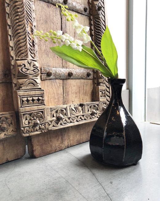 黒釉面取花生、民芸、益子焼、花器、フラワーベース、モダン