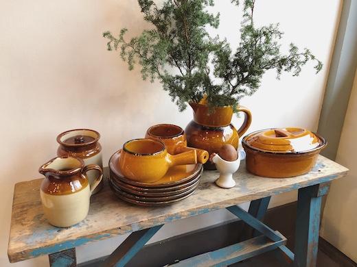 ヴィンテージ食器、耐熱陶器、オーブンウェア、スリップウェア、ココット、フレンチ