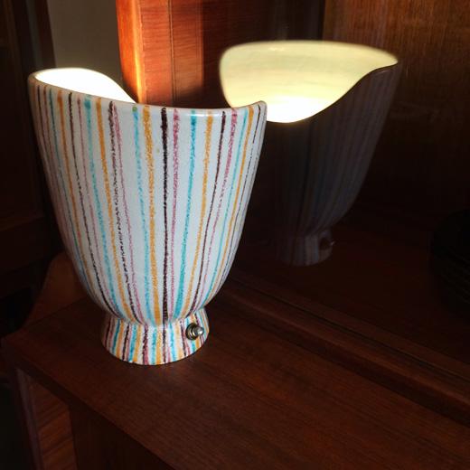 ヴィンテージ、ミッドセンチュリー、陶器ランプ、テーブルランプ、モダンデザイン