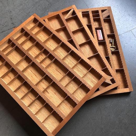 プリントトレイ、マス什器、コレクションケース、仕切りケース、ヴィンテージ、古道具