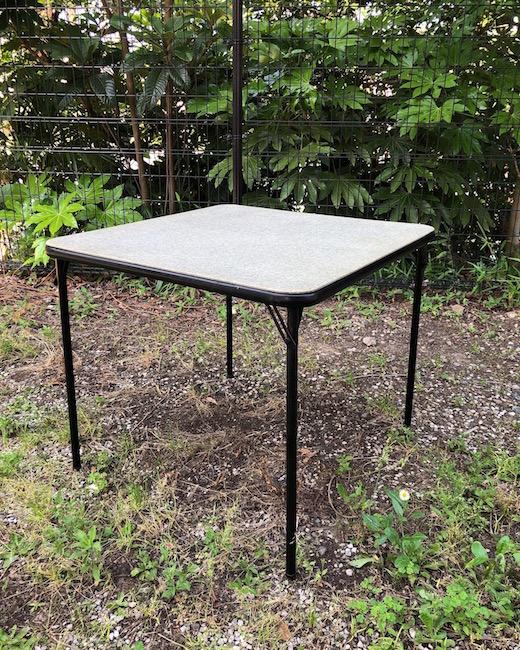 アメリカヴィンテージ家具、サムソナイト、カードテーブル、フォールディングテーブル、折りたたみ、アウトドアテーブル、モダン