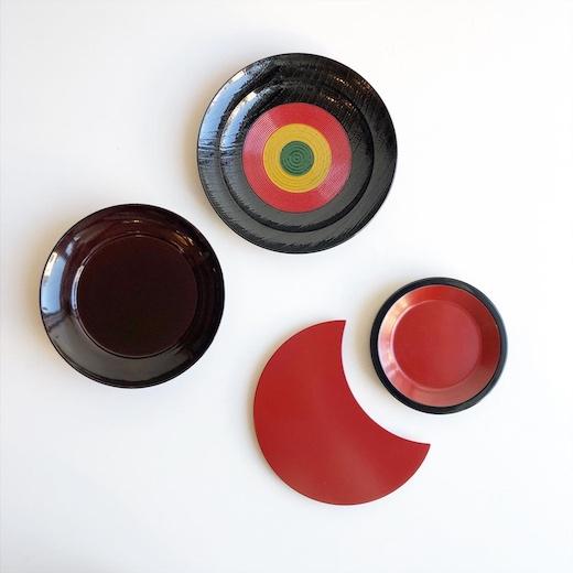 漆器、塗物、菓子皿、伝統工芸、象彦、能作、銘々皿、椿皿