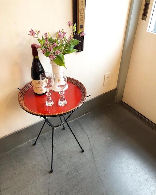ナンセンス下北沢、リメイク、ヴィンテージ家具、サイドテーブル、ジャパニーズモダン、いちらく編あけび丸盆、漆器テーブル