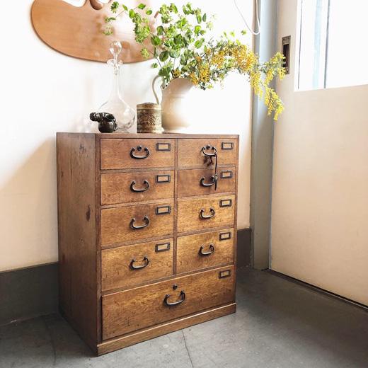 ヴィンテージ家具、小引き出し、帳簿箪笥、小箪笥、古道具
