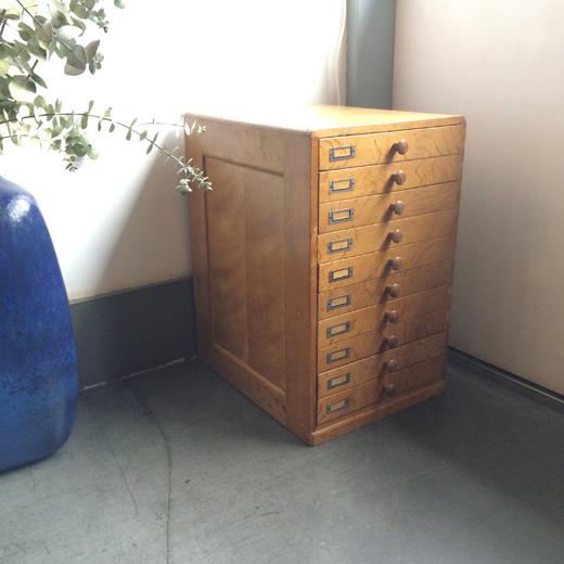 小引き出し、抽斗、古道具、ヴィンテージ、木製、収納、書類ケース