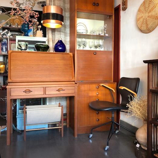 ヴィンテージ、チーク家具、日本製、北欧モダン、日田工芸、天童木工、ライティングデスク、デスクチェア