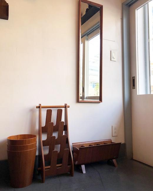 ヴィンテージ家具、チーク家具、小家具、ミラー、スリッパラック、ゴミ箱、サイトーウッド