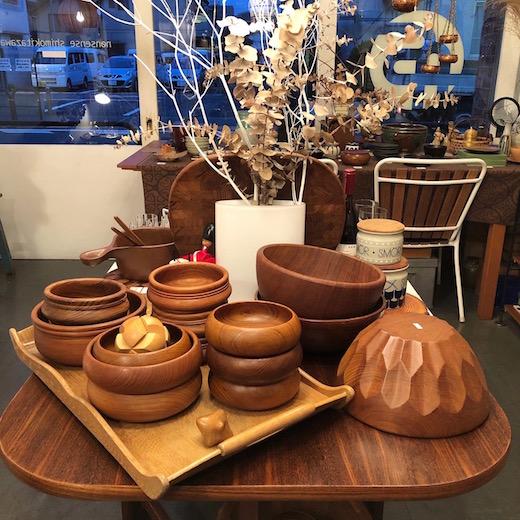 チーク食器、木の器、ヴィンテージ、ボウル
