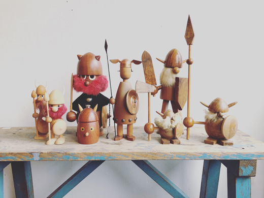 北欧ヴィンテージ、バイキング人形、スーベニア、チークウッド、北欧雑貨