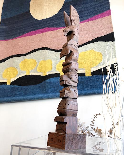 ヴィンテージ、トーテムポール、北米、カナダ、木彫、フォークアート、民族雑貨、プリミティブモダン