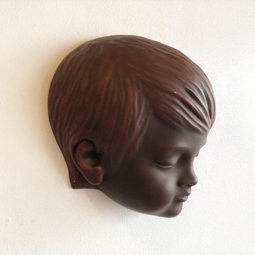 子供の寝顔、顔、壁掛け、陶器オブジェ、ドイツヴィンテージ、wallmask、achatitwerkstatten、peterludwig、ウォールデコレーション