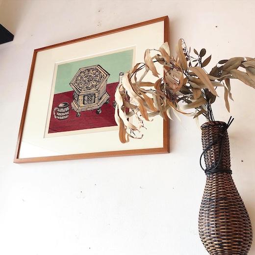 川上澄生、木版画、堀田時計店、時計とコップ、堀田両平