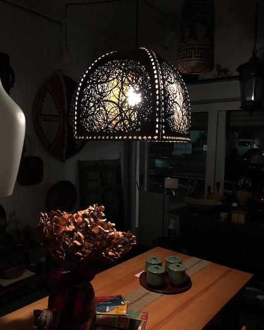 ヤマギワ、ヴィンテージ照明、akagane、銅、鶴岡鉦次郎、モダンペンダント照明