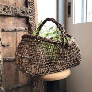 ヴィンテージバスケット、あけび籠、籠バッグ、花籠、あけび、野趣