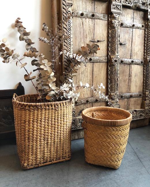 ヴィンテージバスケット、収穫かご、つぼけ、フルーツかご、竹かご、腰かご