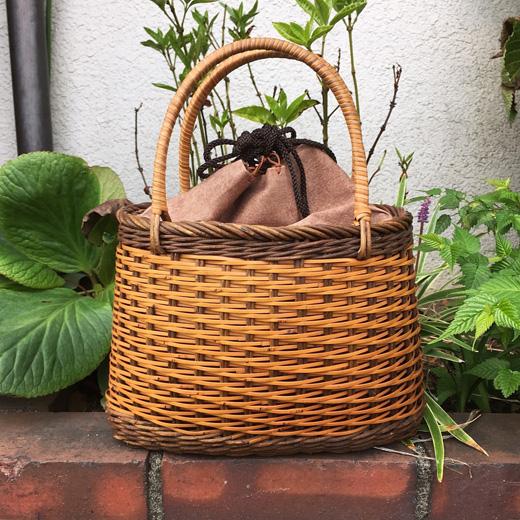 かごバッグ、籠バッグ、ヴィンテージバスケット、アケビ、竹かご、和装、モダン