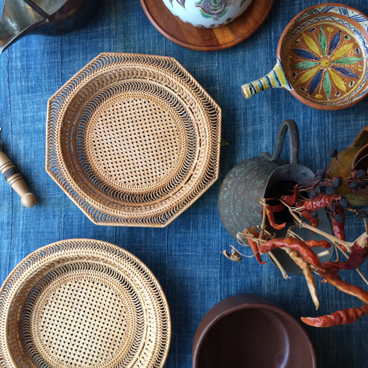 ヴィンテージバスケット、竹かご、竹工芸、ハンドクラフト、ベトナム製