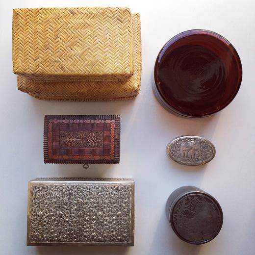 ヴィンテージボックス、匣、箱、蓋物、世界の民藝、クラフト、シルバーボックス、竹かご