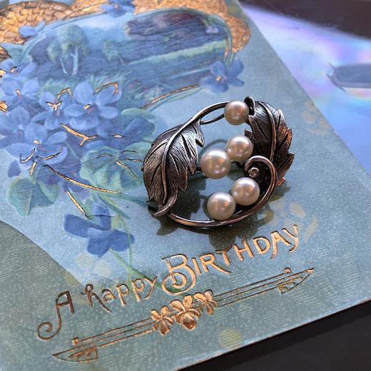 ヴィンテージジュエリー、ブローチ、帯留、シルバーパール、銀、真珠、silverpearl