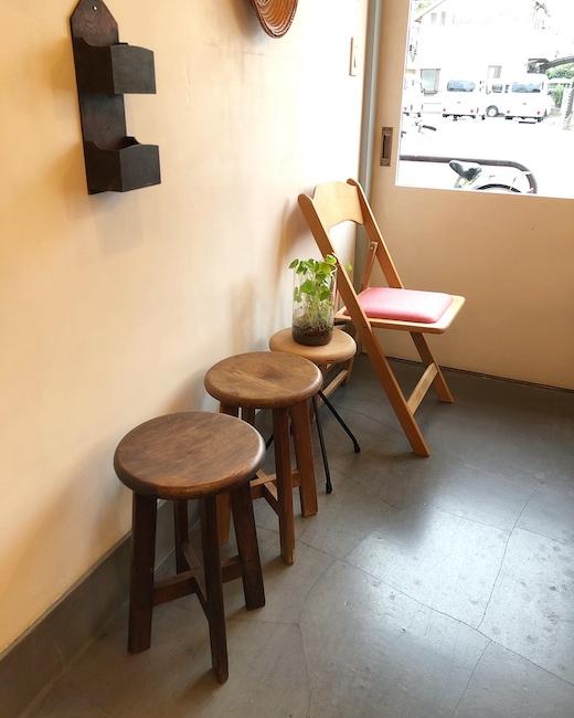 ヴィンテージチェア、折りたたみ椅子、飛騨産業、フォールディングチェア、丸椅子、スツール、リメイク