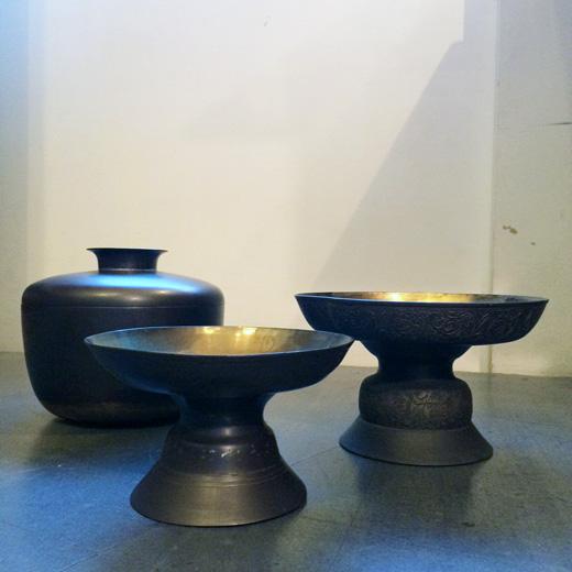 韓国の真鍮製祭器、ヴィンテージクラフト、コンポート