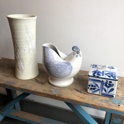 鳥モチーフ、鳥デザイン、陶芸、ヴィンテージ雑貨、花瓶、蓋物