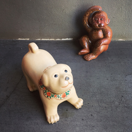 干支置物、戌年、京焼、井野祝峰、クラフト、猿