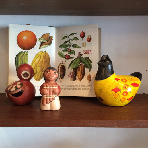 世界の民芸、土産物、ラテンアメリカ、チリ、メキシコ、フィギュリン、置物、鳥、郷土人形、陶器、ヴィンテージクラフト