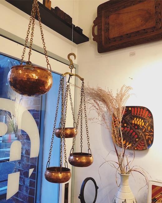 ヴィンテージ雑貨、銅鍋、コッパーポット、プランターポット、ハンギング