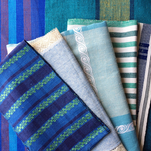 ヴィンテージファブリック、北欧ファブリック、ブルー、青色、織物、刺繍、モダンデザイン、リネン