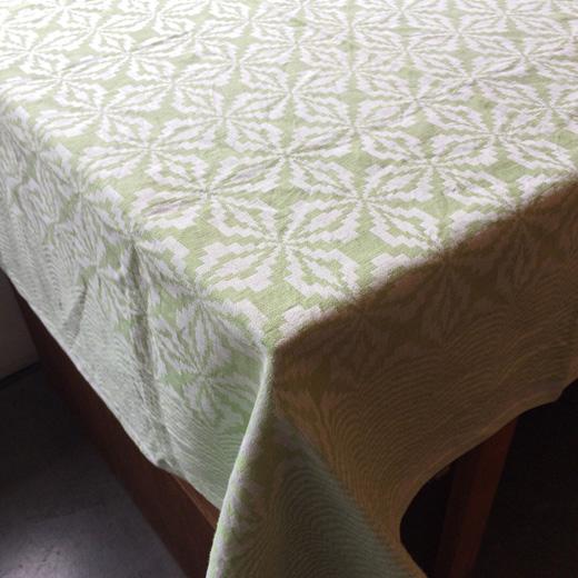 ヴィンテージテキスタイル、ジャガード織、テーブルクロス、北欧ファブリック、ヴィンテージファブリック、グリーン