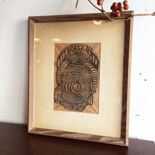 木版画、信楽狸、八相縁起、アノニマス、ヴィンテージ、額裝、木製額