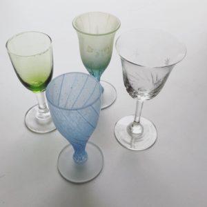ヴィンテージガラス、ガラス器、リキュールグラス、和ガラス、カットガラス、戦前、脚付グラス、酒器