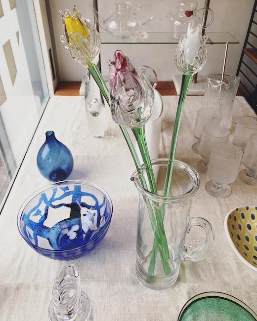 ヴィンテージガラス、北欧ガラス、ガラス器、花瓶、ムラノガラス