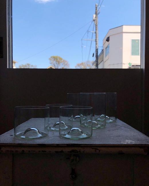ヴィンテージガラス、グラス、タンブラー、モダンデザイン、グリーン