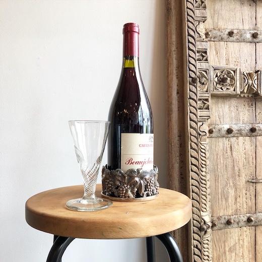 ワインボトルホルダー、ボトルコースター、ヴィンテージグラス、ポルトガル雑貨、ぶどう透かし