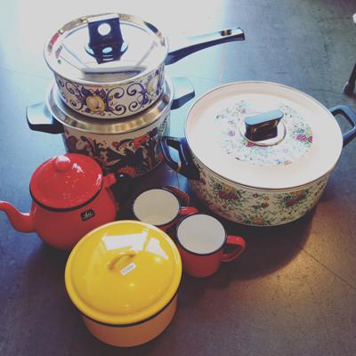 ホーロー鍋、レトロ、キッチンウェア、ホーロー