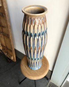 ヴィンテージ陶器、やきもの、大花瓶、彩釉、三彩、アール・デコ、作家もの、花瓶