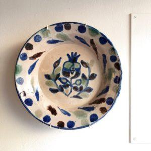 ヴィンテージ陶器、スペイン、グラナダ陶器、絵皿、民芸陶器