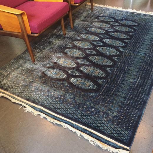 ヴィンテージラグ、絨毯、ブルー、モダンインテリア、敷物