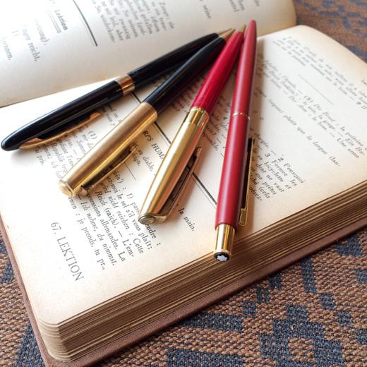 ヴィンテージ、文房具、筆記具、ステーショナリー、モンブランボールペン、ティファニー、クロス、パイロットペン