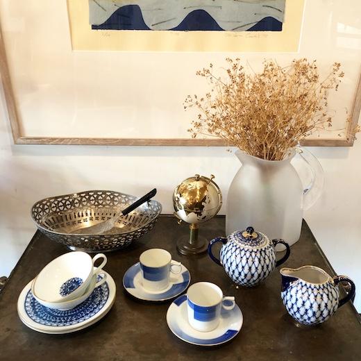 ヴィンテージ食器、ロモノーソフ、香蘭社、ブルー&ホワイト、ティーウェア